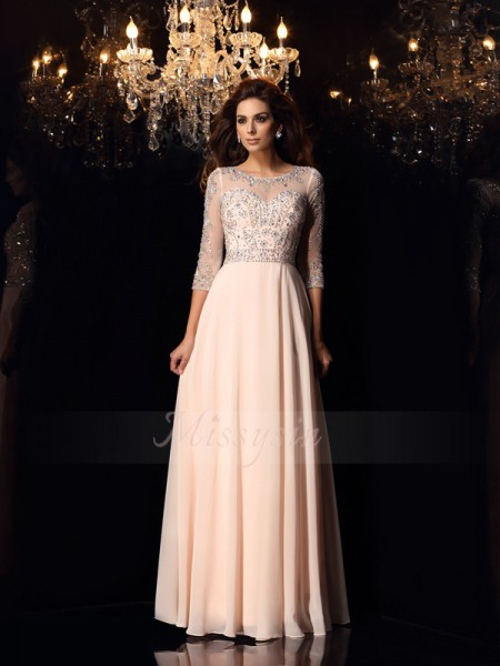 A-Line/Princess Floor-Length Scoop 3/4 Sleeves Beading Chiffon Dresses