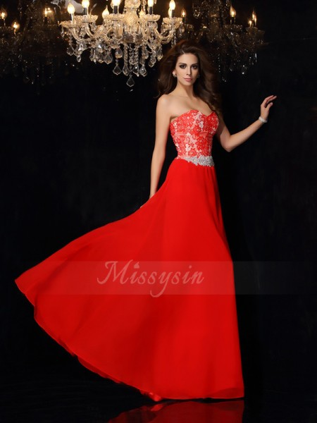 A-Line/Princess Floor-Length Sweetheart Sleeveless Chiffon Dresses