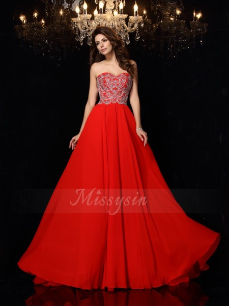 A-Line/Princess Sweep/Brush Train Sweetheart Sleeveless Beading Chiffon Dresses
