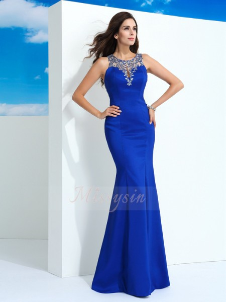 Sheath/Column Sheer Neck Sleeveless Chiffon Floor-Length Beading Dresses