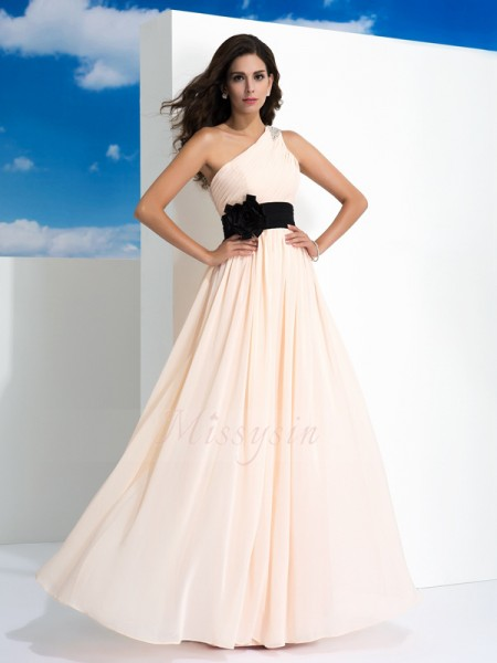 A-Line/Princess One-Shoulder Sleeveless Chiffon Floor-Length Sash/Ribbon/Belt Dresses