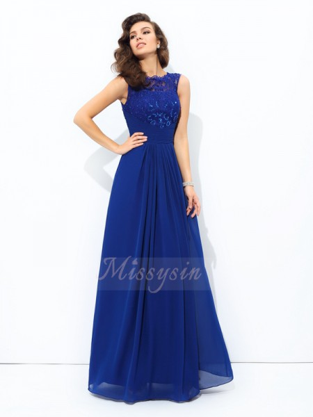 A-line/Princess Scoop Sleeveless Chiffon Floor-length Dresses