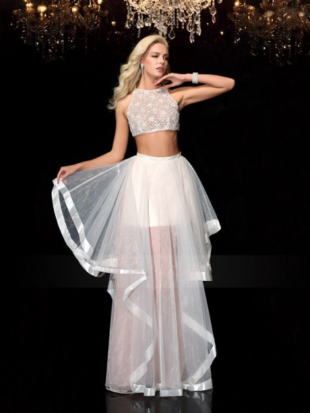 A-Line/Princess Scoop Sleeveless Tulle Floor-Length Applique Dresses