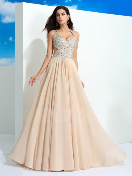 A-Line/Princess Straps Sleeveless Chiffon Sweep/Brush Train Beading Dresses