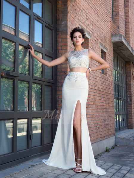 Sheath/Column High Neck Sleeveless Chiffon Sweep/Brush Train Crystal Dresses