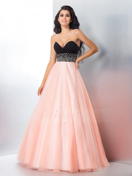 Ball Gown Sweetheart Sleeveless Satin Floor-Length Beading Dresses