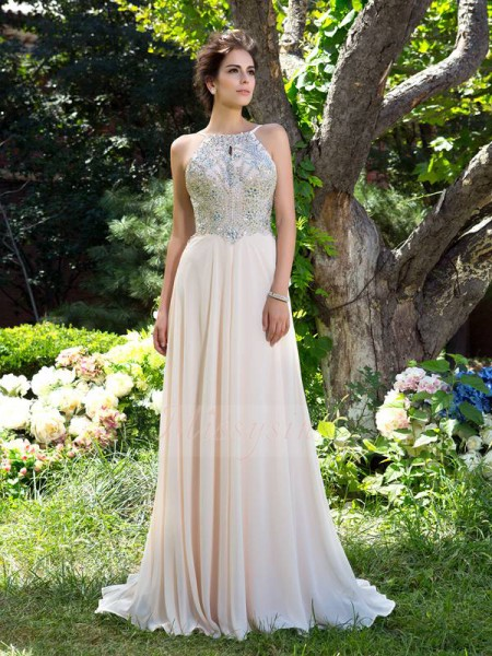 A-Line/Princess Spaghetti Straps Sleeveless Chiffon Sweep/Brush Train Beading Dresses