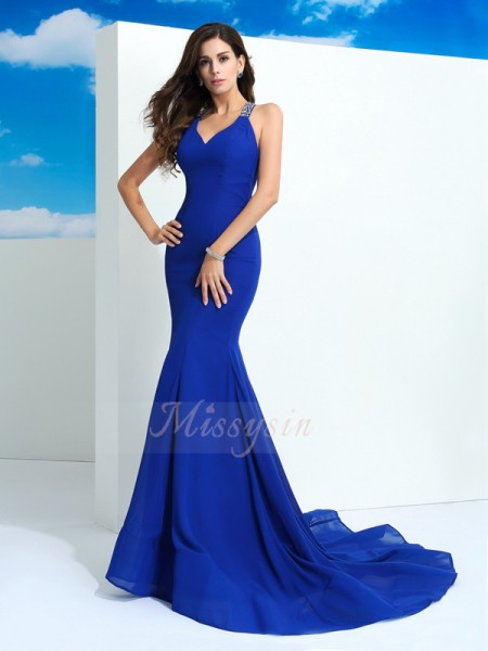 Sheath/Column Straps Sleeveless Chiffon Court Train Beading Dresses