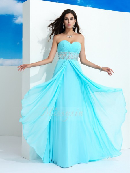 A-Line/Princess Sweetheart Sleeveless Chiffon Floor-Length Beading Dresses