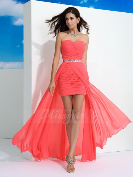 Sheath/Column Sweetheart Sleeveless Chiffon Floor-Length Pleats Dresses