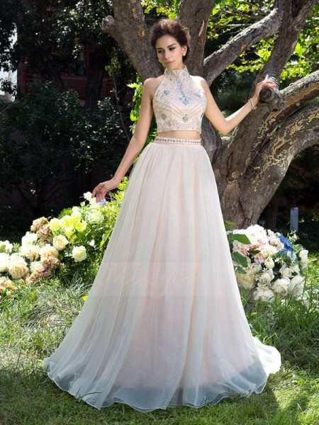 A-Line/Princess High Neck Sleeveless Net Sweep/Brush Train Beading Dresses