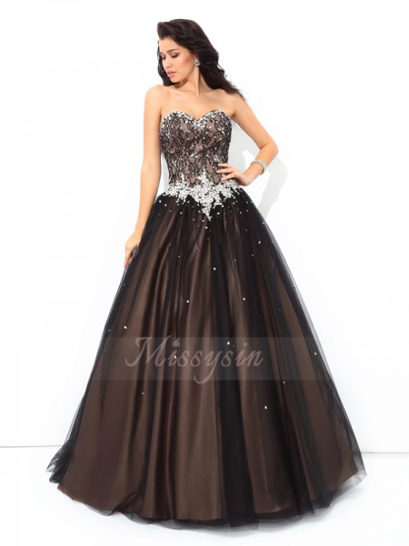 Ball Gown Sweetheart Sleeveless Net Floor-Length Beading Quinceanera Dresses