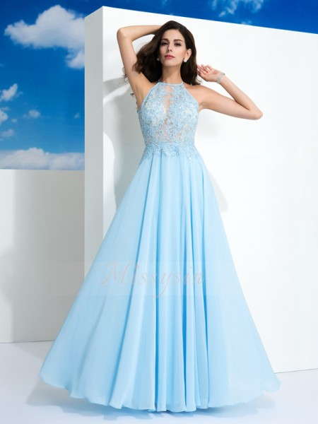A-Line/Princess Spaghetti Straps Sleeveless Chiffon Floor-Length Applique Dresses