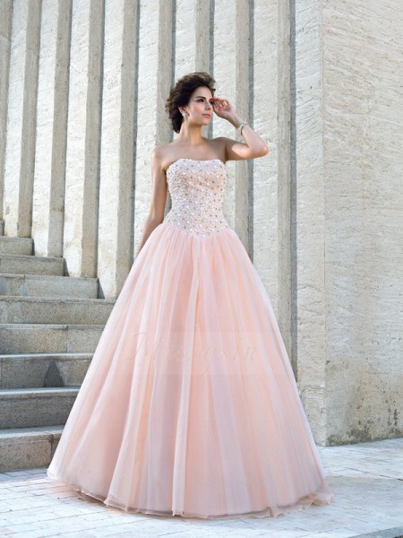 Ball Gown Strapless Sleeveless Satin Floor-Length Beading Wedding Dresses