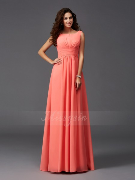 A-Line/Princess Scoop Sleeveless Chiffon Sweep/Brush Train Ruffles Bridesmaid Dresses
