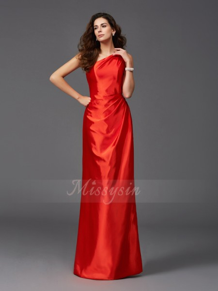 Sheath/Column One-Shoulder Sleeveless Elastic Woven Satin Floor-Length Bridesmaid dresses
