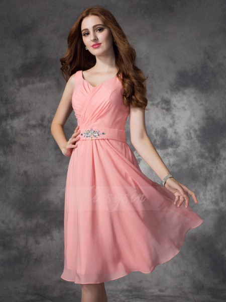 A-line/Princess Straps Sleeveless Chiffon Knee-Length Rhinestone Bridesmaid Dresses