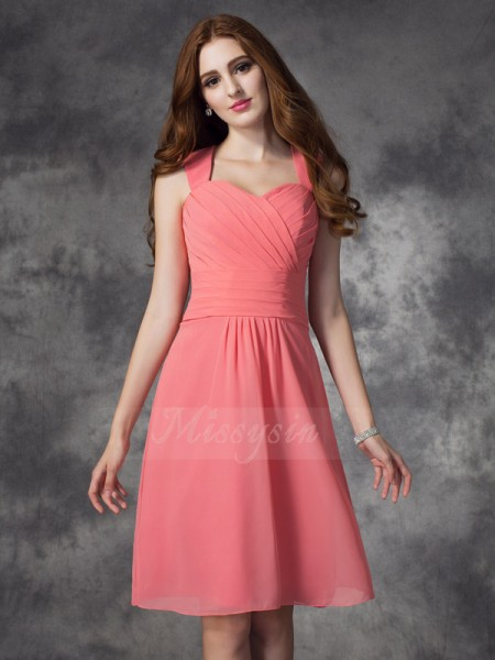 A-line/Princess Straps Sleeveless Chiffon Knee-Length Ruched Bridesmaid Dresses