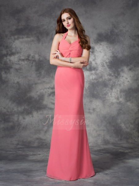 Sheath/Column Halter Sleeveless Chiffon Floor-length Ruched Bridesmaid Dresses