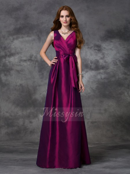 A-line/Princess V-neck Sleeveless Taffeta Floor-length Sash/Ribbon/Belt Bridesmaid Dresses