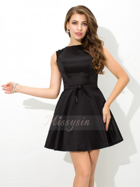 A-Line/Princess High Neck Sleeveless Satin Short/Mini Sash/Ribbon/Belt Dresses