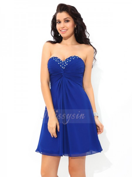 A-Line/Princess Sweetheart Sleeveless Chiffon Short/Mini Pleats Dresses