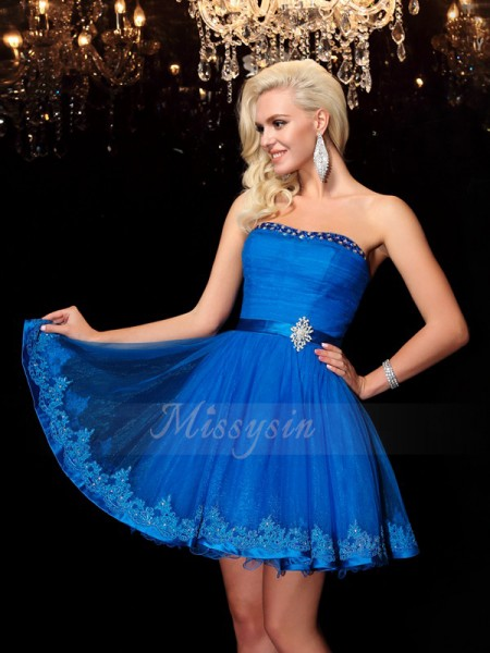 A-Line/Princess Strapless Sleeveless Net Short/Mini Beading Dresses