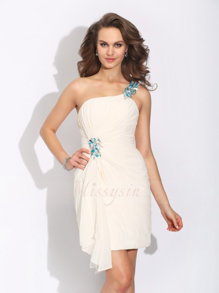 Sheath/Column One-Shoulder Sleeveless Chiffon Short/Mini Beading Dresses
