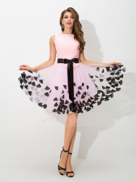A-Line/Princess High Neck Sleeveless Net Short/Mini Bowknot Dresses