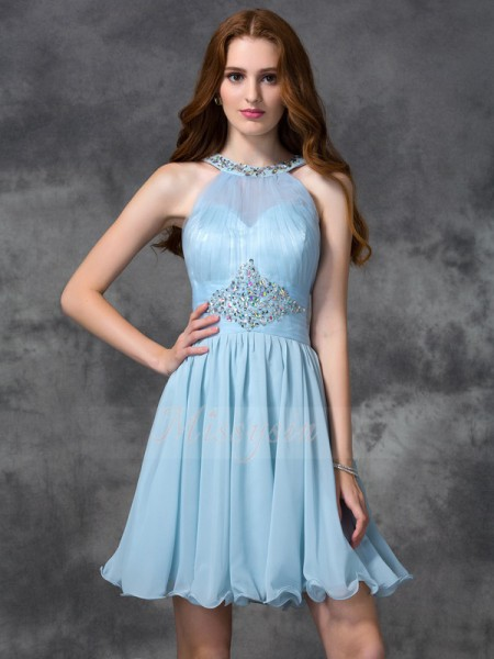 A-line/Princess Scoop Sleeveless Chiffon Short/Mini Beading Dresses