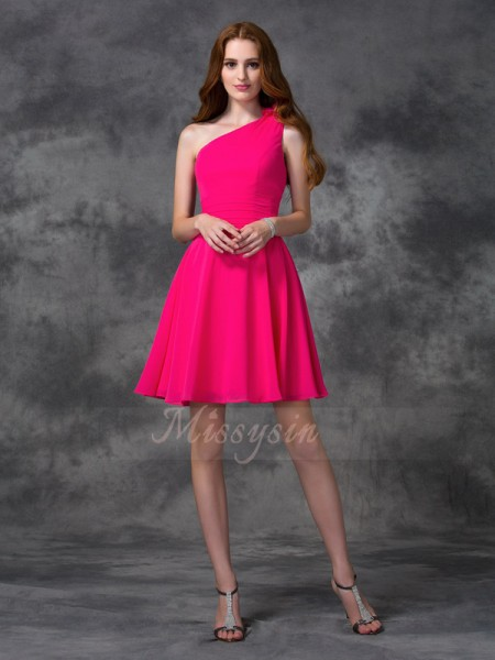 A-line/Princess One-Shoulder Sleeveless Chiffon Short/Mini Hand-Made Flower Dresses