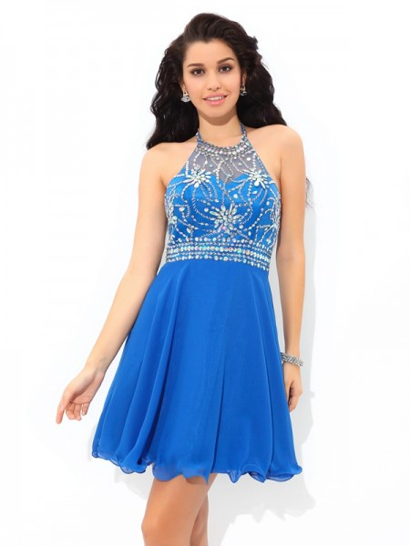 A-Line/Princess Halter Sleeveless Chiffon Short/Mini Beading Dresses