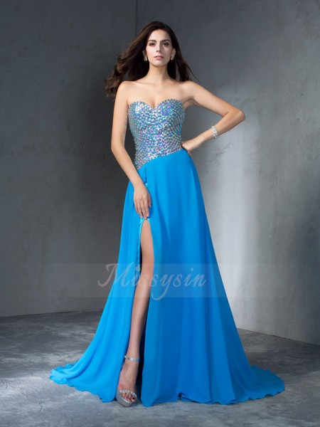 A-Line/Princess Sweetheart Sleeveless Chiffon Sweep/Brush Train Sequin Dresses