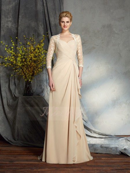 A-Line/Princess Sweetheart 3/4 Sleeves Chiffon Sweep/Brush Train Mother of the Bride Dresses