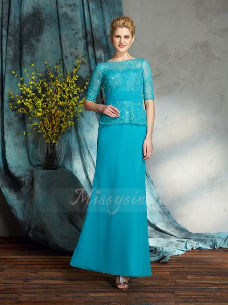 Sheath/Column Bateau 1/2 Sleeves Chiffon Floor-Length Applique Mother of the Bride Dresses