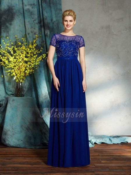 A-Line/Princess Scoop Short Sleeves Chiffon Floor-Length Beading Mother of the Bride Dresses