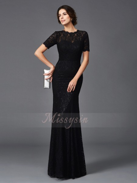Sheath/Column Jewel Short Sleeves Elastic Woven Satin Floor-Length Mother of the Bride Dresses