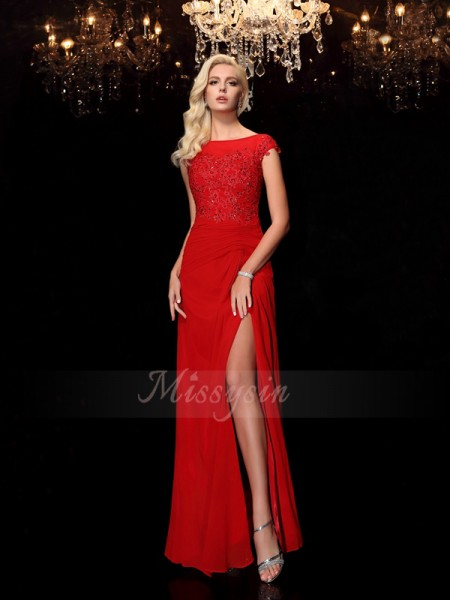 Sheath/Column Bateau Short Sleeves Chiffon Floor-Length Applique Mother of the Bride Dresses