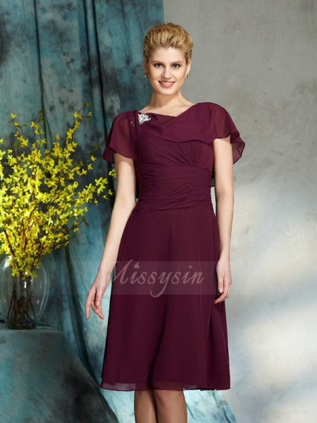 A-Line/Princess Scoop 1/2 Sleeves Chiffon Knee-Length Mother of the Bride Dresses