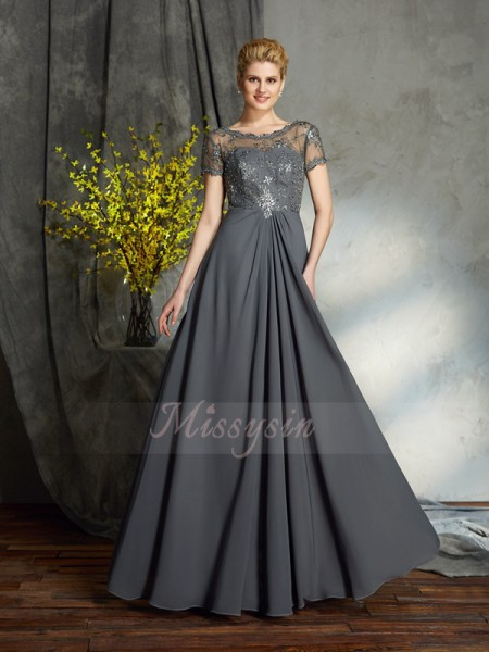 A-Line/Princess Scoop Short Sleeves Chiffon Floor-Length Applique Mother of the Bride Dresses