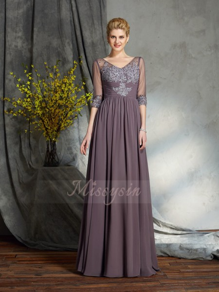 A-Line/Princess V-neck 1/2 Sleeves Chiffon Floor-Length Mother of the Bride Dresses