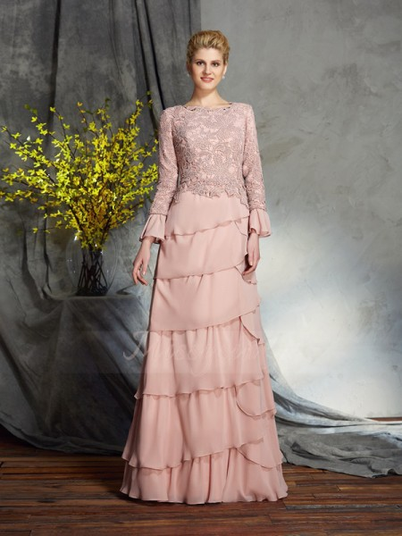 Sheath/Column Scoop Long Sleeves Chiffon Floor-Length Ruffles Mother of the Bride Dresses
