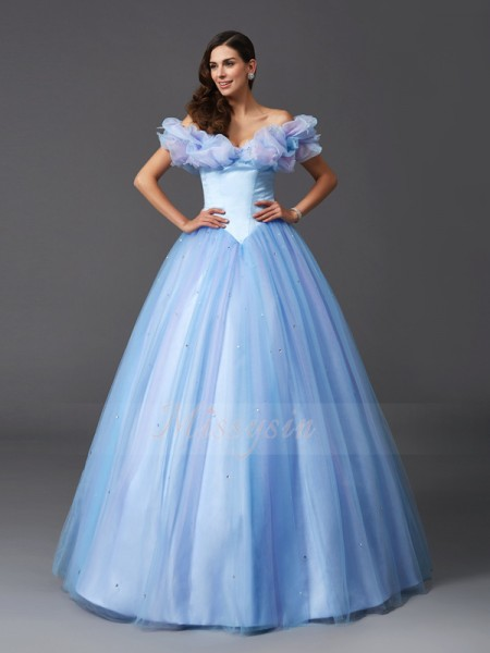 Ball Gown Off-the-Shoulder Sleeveless Net Floor-Length Beading Dresses