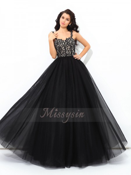 Ball Gown Straps Sleeveless Net Floor-Length Applique Quinceanera Dresses