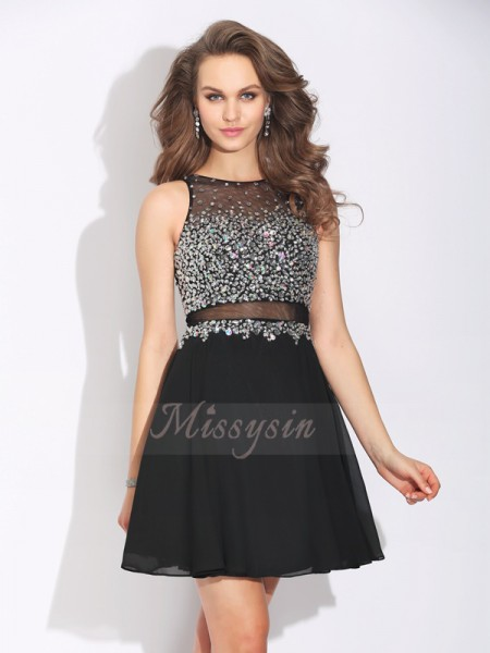 A-Line/Princess Jewel Sleeveless Chiffon Short/Mini Beading Dresses