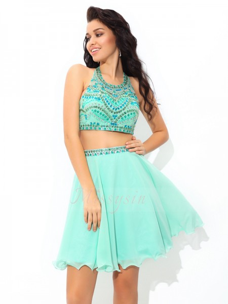A-Line/Princess Sheer Neck Sleeveless Chiffon Short/Mini Rhinestone Dresses