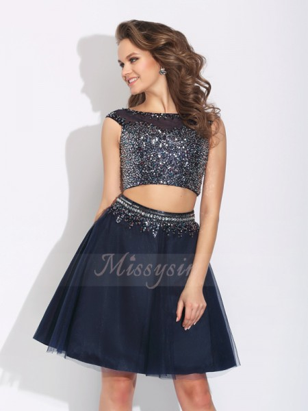 A-Line/Princess Bateau Sleeveless Net Short/Mini Beading Dresses