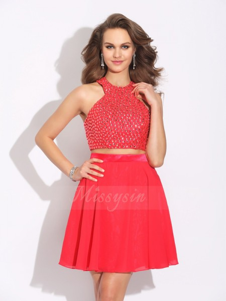 A-Line/Princess Jewel Sleeveless Chiffon Short/Mini Crystal Dresses