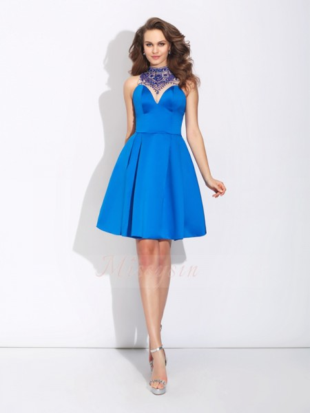 A-Line/Princess High Neck Sleeveless Satin Short/Mini Beading Dresses