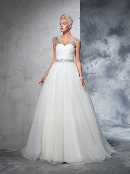 Ball Gown Straps Sleeveless Net Chapel Train Ruched Wedding Dresses
